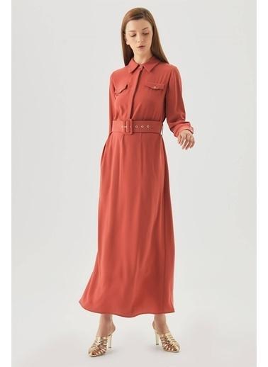 Vivencia Cepli Kuşgözü Kemerli Düğmeli Elbise  Kiremit